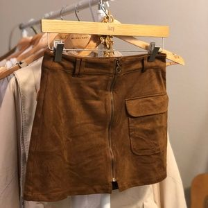 Suede Skirt with Zipper